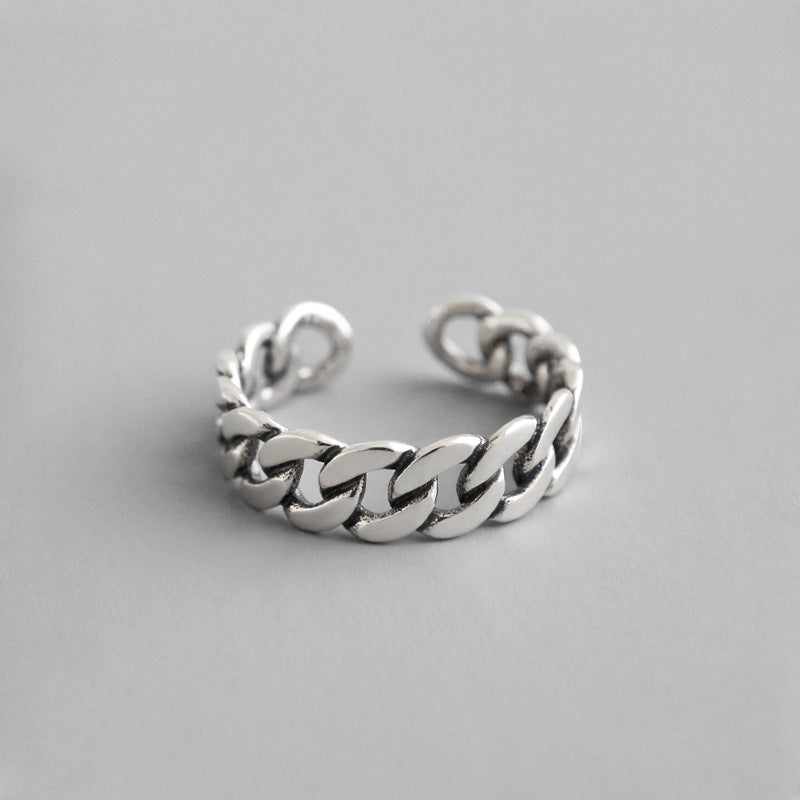 S925 Silver Retro Chain Open Ring