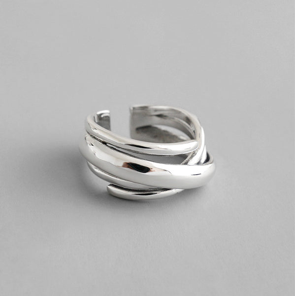 S925 Silver Retro Multilayer Open Ring