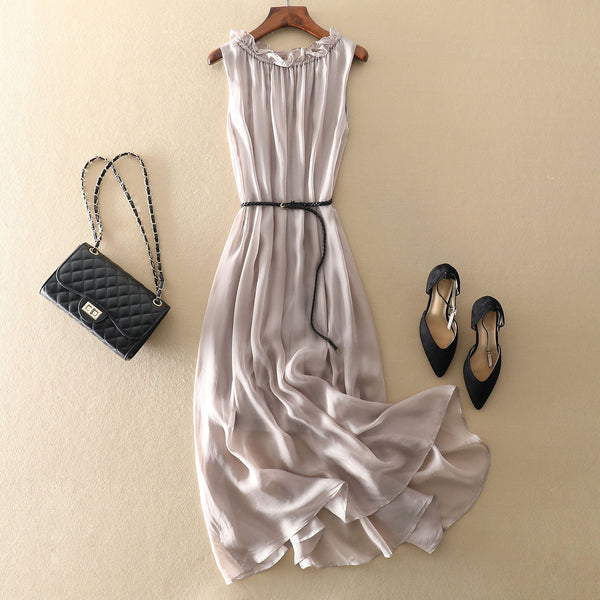Sleeveless Round Neck Beach Dress