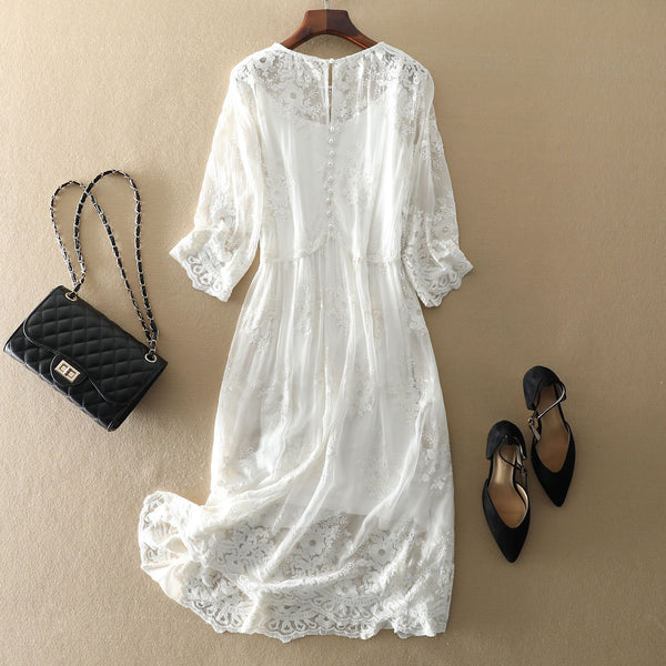 Bohemian White Lace Embroidered Silk Dress