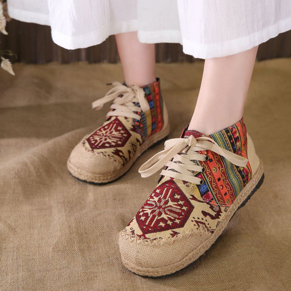 Vintage Embroidered Flat Shoes