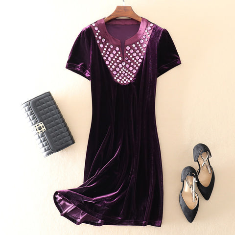 Short-sleeved Velvet Evening Party Dress