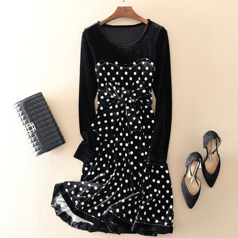 Velvet Base Dress with Polka Dot