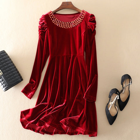 Solid Color Velvet Long-sleeved Dress