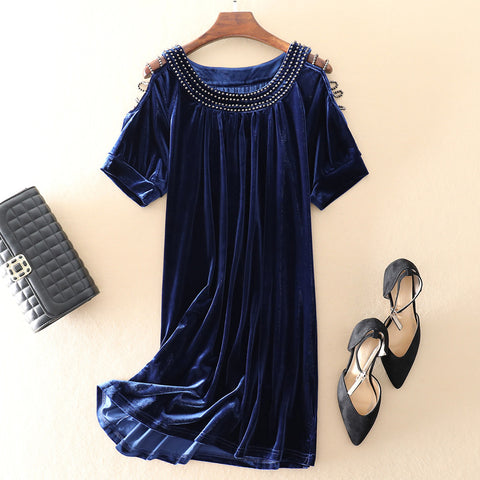 Short-sleeved Velvet Base Dress