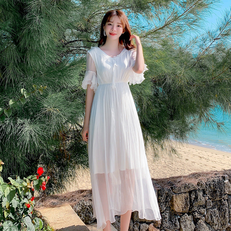 Lotus Leaf Sleeve Maxi Dress