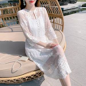 Lace Embroidery Silk Dress