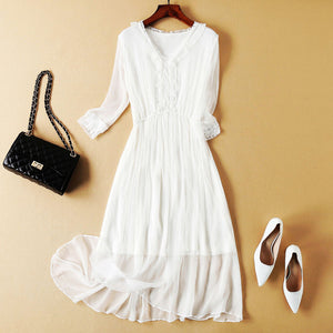 V-neck Lace Silk Beach Dress