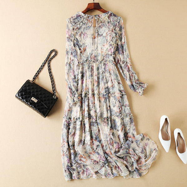 Floral Long Sleeve Silk Dress