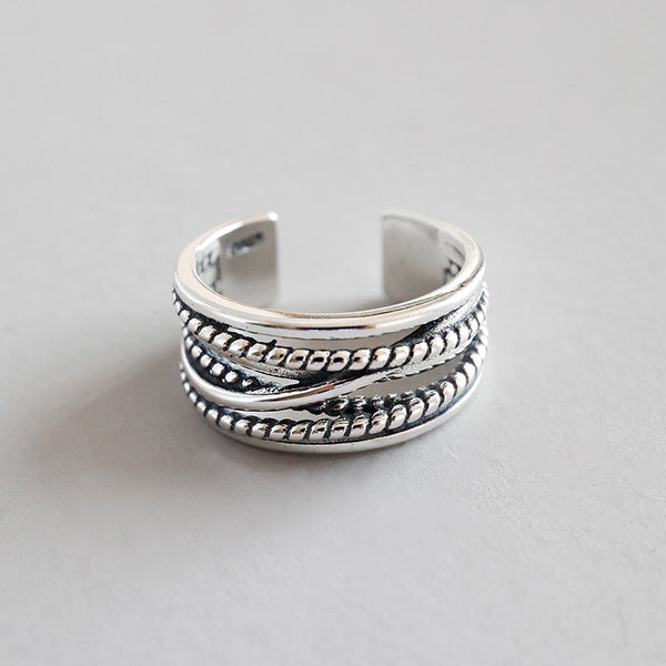 S925 Silver Multi-layer Retro Open Ring