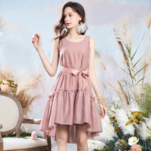 High Waist Pleated Sleeveless Dress