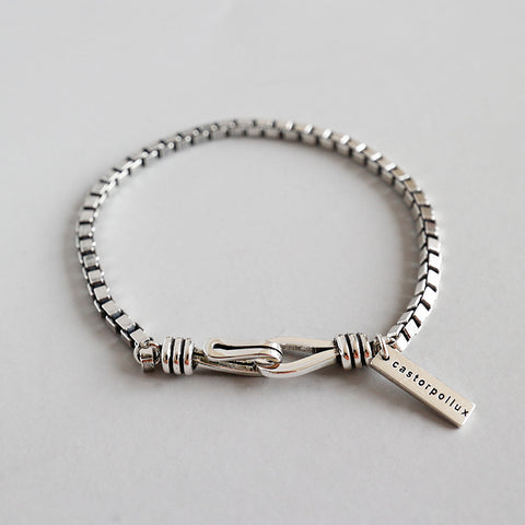 S925 Silver Retro Rough Box Bracelet