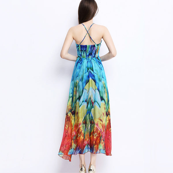 Mulberry Silk Printed Sling Dress