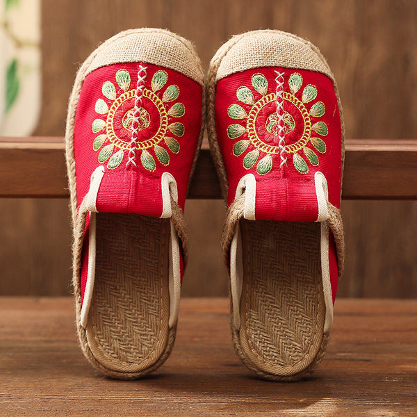 Embroidered Canvas Sandals