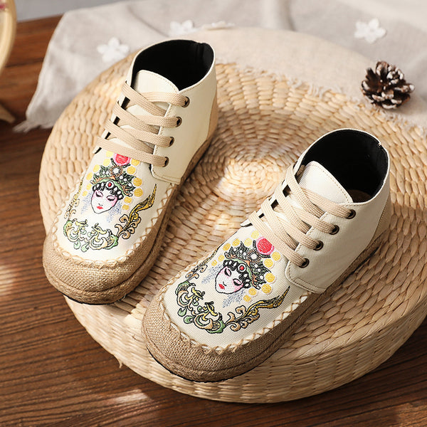 Cotton Linen Embroidered Flats Shoes