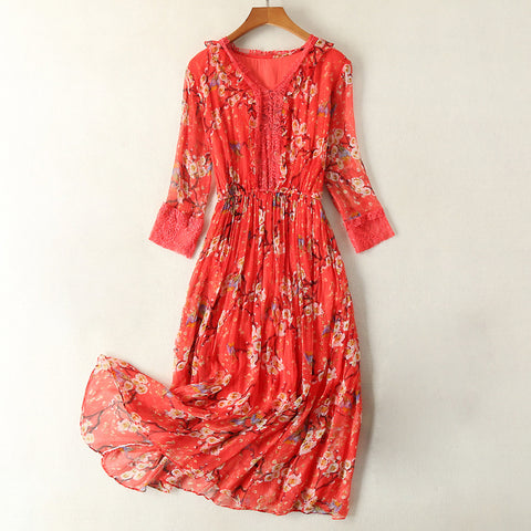 Fashion Print OL Mulberry Silk Dress