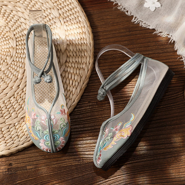 Embroidered Mesh Loafers