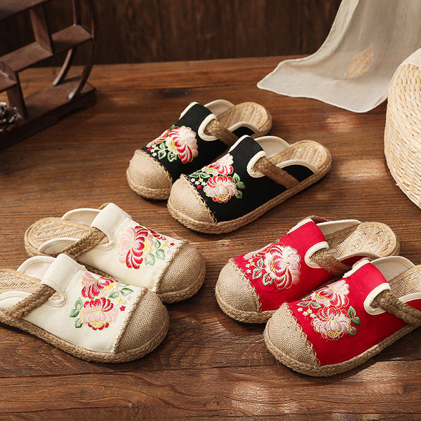 Canvas Embroidered Flat Shoes