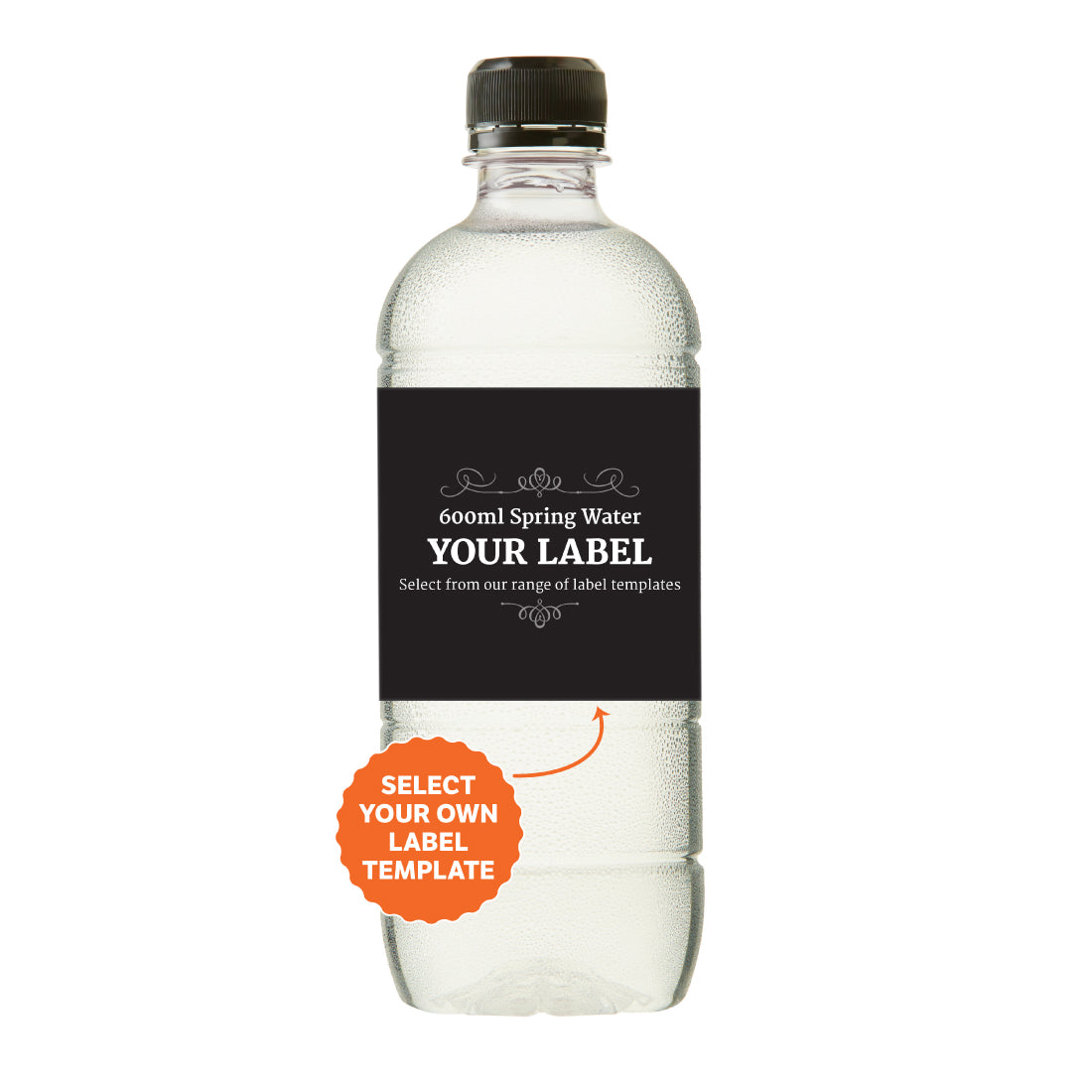 600ml Spring Water Black Cap