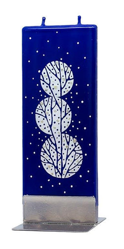 Blue Winter Flat Candle