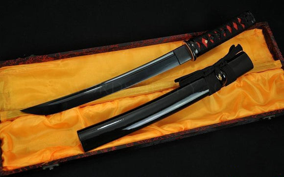 Full Black Blade Japanese Samurai Sword Tanto Sharp Edge