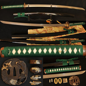 Clay Tempered Folded Steel Blade Hawk Tsuba Japanese Samurai Sword Katana