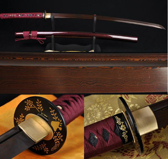 Black Red Folded Steel Full Tang Blade Japanese Battle Ready Sword Katana