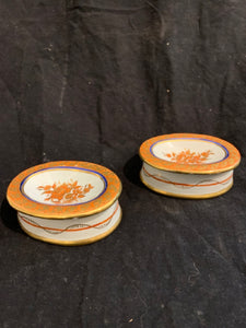 "Pair of Samson Porcelain Master Salts.  These are reproduction copies of 18th Century Chinese Export Porcelain, made in France circa 1900.  They are in good condition, and are 3.5"" wide x 1.25"" tall."