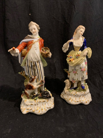 Pair Naples Porcelain Figurines