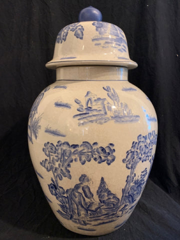 "Over Scale Ginger Jar. This is a late 20th Century reproduction porcelain over size ginger pot.  It is in good condition and 24"" tall x 14"" diameter."