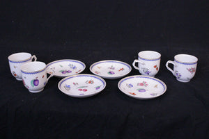 Ginori Demitasse set of 4 Mid 20th Century Perugia pattern cups and saucers are made in Italy