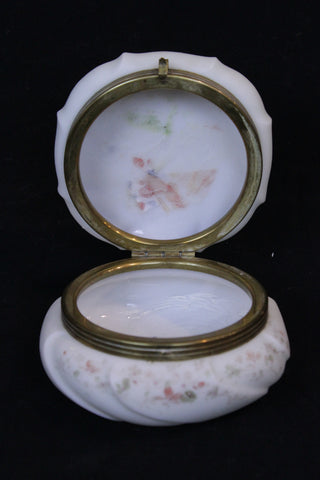 Wave Crest box.  Victorian period dresser box in opaque white glass. Hinged lid with swirled molded detail and floral painted decoration