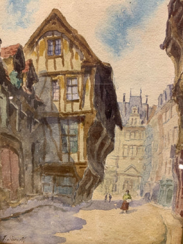 European Street Scene Watercolor
