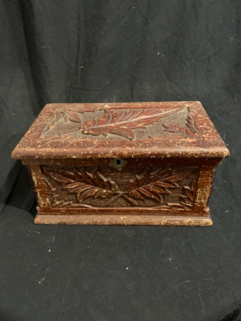 "Folk Art Covered Box.   This is an authentic late 19th Century U.S. Folk Art - Tramp Art piece.  It is carved & painted wood, there is wear to the finish & one hinge loose, and is 11.5"" wide x 6"" tall."