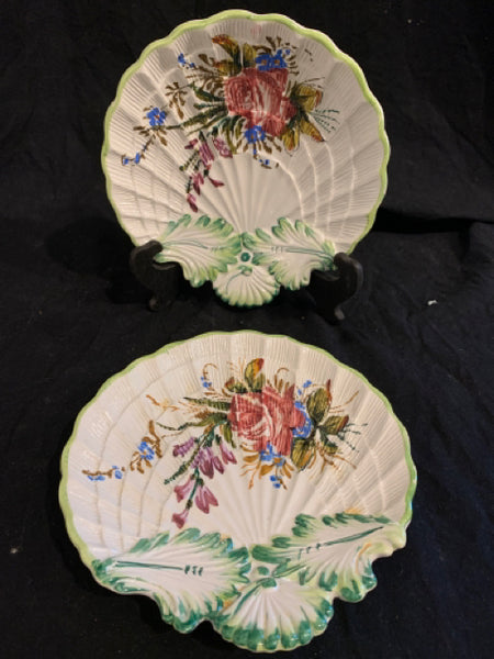 Pair of Pottery Shell Dishes
