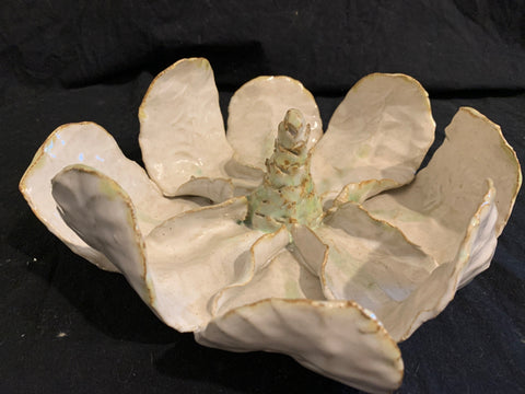 "Studio Pottery Magnolia Blossom.   This is an authentic late 20th century Naturalistic stoneware pottery, made in U.S.  It is in good condition and 9"" diameter x 3"" tall."