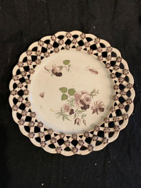 "Soft Paste Reticulated Plate. This is an authentic late 18th century soft paste country style pottery, made in France.  It is good condition with minor wear, and is 9"" diameter."