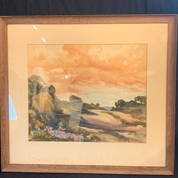"H. DeMaine Watercolor.  This is an authentic early 20th Century impressionism watercolor, depicting a New England landscape scene.  The painting is in good condition, and the mat is stained.  It is signed on the lower right, and the image size is 19"" x 23"", the frame is 30"" x 34""."