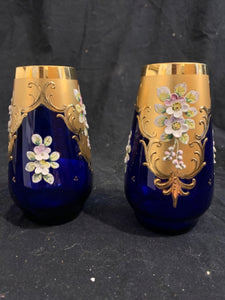 "Pair Cobalt Glass and Gilt Bud Vases.  These are authentic early 20th Century Victorian glass vases, made in Europe.  They are in good condition and 4.5"" tall."