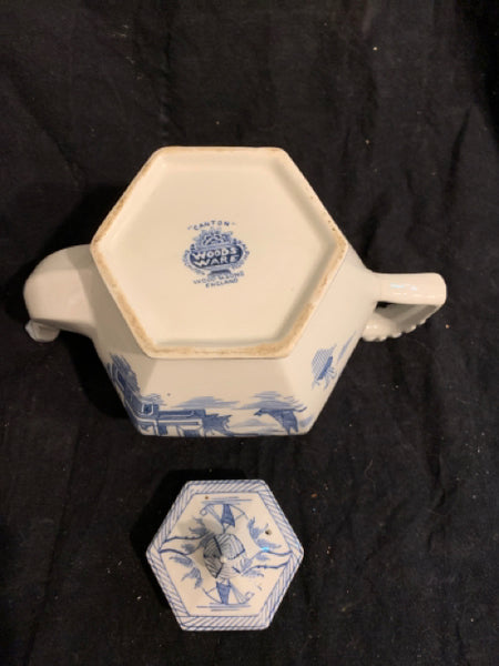 "Woods Ware Canton Pattern Teapot.  This is an authentic traditional Porcelain Teapot, made in England circa 1950s.  It is in good condition and is 9"" wide."