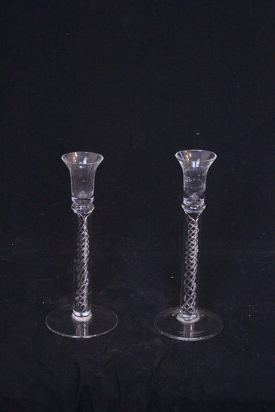 Mid 20th century pair of Georgian design, hand blown crystal candlesticks with spiral air twist detail