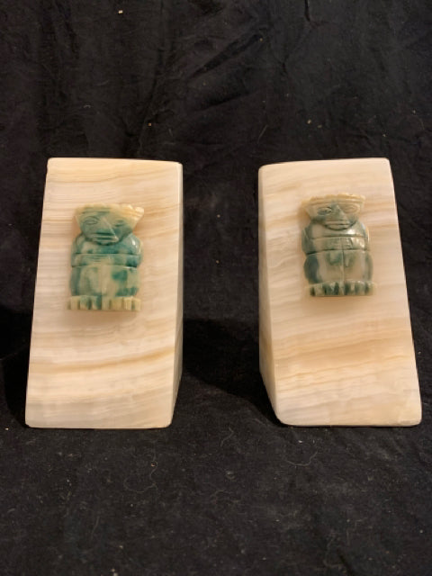 "Modernist Stone Bookends with Mayan Figure.   These are authentic Onyx Modernist bookends, made in Mexico circa 1970s.  They are in good condition and 5.75"" tall."