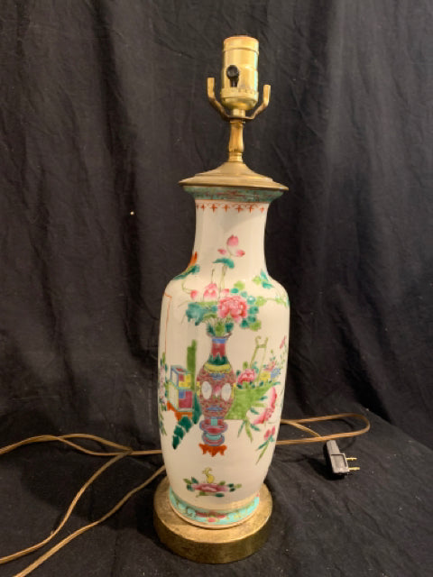 Chinese Porcelain Vase - Lamp.   This is an adapted early 20th Century traditional porcelain vase, made in China.  The porcelain is in good condition, the metal base is corroded, and the electrical components are not guaranteed.