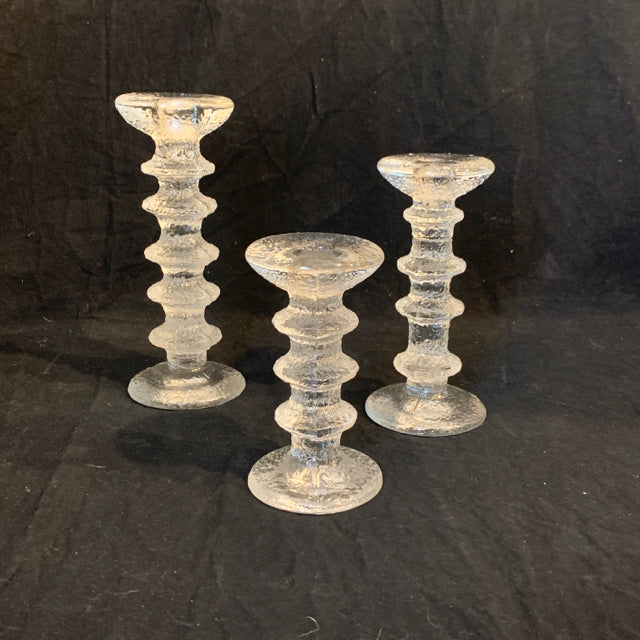 "Trio of MCM glass ""Festivo"" Candlesticks. These authentic Finnish mid-century modern glass candlesticks date to 1966.  They are in good condition and range between 5.5"" and 7"" tall."