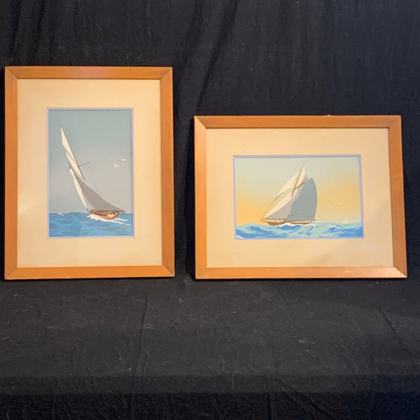 "Pair of Sailing Scenes - signed Jon Shaw.  These authentic paper Govache block prints are circa 1950's US, and are in good condition.  The images are 11.25"" x 7.25"" and the slightly worn frames are 14.5 x 18.5."