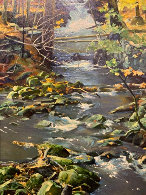 "Frederick Buchholz ""Where the Brook Divides""  This is an authentic 1960's Realism oil on canvas.  It is in good condition, direct from the estate of the artist, and signed on lower left.  The painting is 36"" x 24"" and the frame is 44"" x 32""."