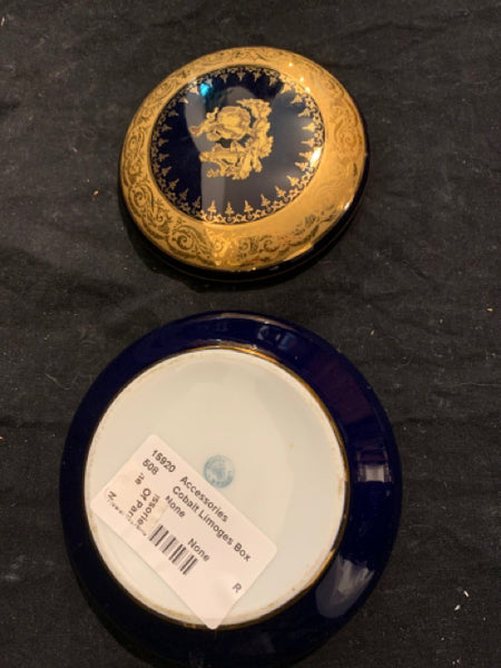 "Limoges Covered Box - Cobalt & Gilt.   This is an authentic early 20th Century Classical Porcelain box, made in France.  It is in good condition and is 5"" diameter."