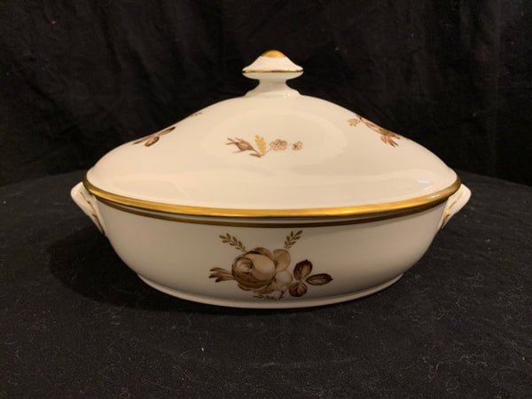"Royal Copenhagen Brown Rose Pattern Covered Dish.  This is an authentic circa 1960's Traditional Porcelain dish, made in Denmark.  It is in good condition, and 10.5"" wide x 5"" tall."