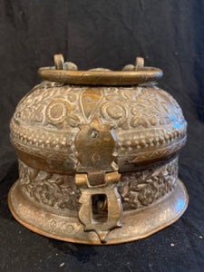"Here's an authentic early 20th Century Islamic style copper domed box, in good condition.  It is made in Egypt of copper with tin wash, its diameter is 8"" and height is 5""."