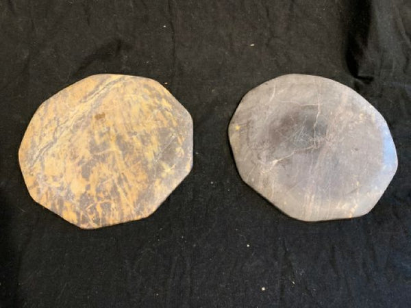 "Pair MCM Stone Plates. There are authentic Mid Century Modern carved stone plates, made in the U.S. circa 1970s.  They are in good condition and 7"" diameter."